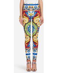 Dolce & Gabbana - Leggings With Majolica Print - Lyst
