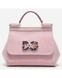 edb4b6f30c08 Dolce   Gabbana Mini Sicily Bag In Lurex Fabric in Pink - Lyst