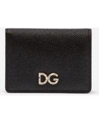 Dolce & Gabbana - Credit Card Holder In Dauphine Calfskin With Logo Crystals - Lyst