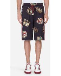 Dolce & Gabbana - Bermuda De Jogging En Coton Imprimé - Lyst