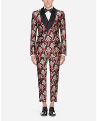 Dolce & Gabbana - Casinò Tuxedo Suit In Printed Silk Mikado - Lyst