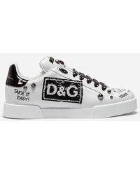 Dolce & Gabbana - Sneakers Portofino In Vitello Con Patch E Ricami - Lyst