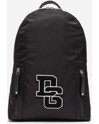 Dolce & Gabbana - Vulcano Backpack In Nylon With Logo Patch - Lyst
