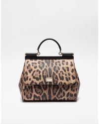 Dolce & Gabbana - Regular Sicily Bag In Leopard Textured Leather - Lyst