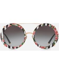 90ce3527b0c Dolce   Gabbana - Round Clip-on Sunglasses In Gold Metal With Stripe And  Rose
