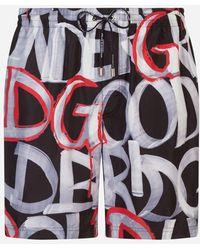 Dolce & Gabbana - Boxer De Bain Mi-Long Imprimé Avec Pochette - Lyst