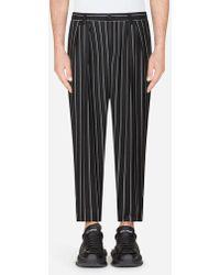 Dolce & Gabbana - Pinstripe Stretch Wool Trousers - Lyst