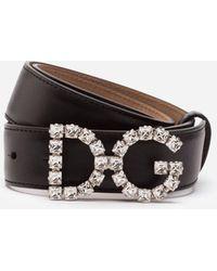 Dolce & Gabbana - Calfskin Belt With Dg Crystal Logo - Lyst