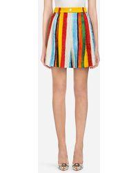 Dolce & Gabbana - Printed Brocade Shorts - Lyst