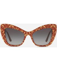 "Dolce & Gabbana - Cat-eye Sunglasses In Acetate With ""cuore Sacro"" Embellishment - Lyst"