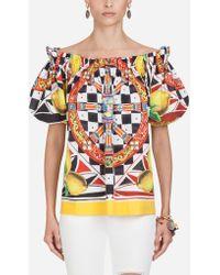 Dolce   Gabbana - Cotton Top With Sicilian Carretto And Lemon Print - Lyst 2c58ea1d56849