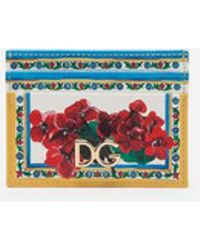 Dolce & Gabbana - Credit Card Holder In Printed Dauphine Calfskin With Logo - Lyst