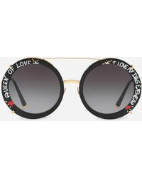 Dolce & Gabbana - Round Clip-on Sunglasses In Gold Metal With Graffiti Print - Lyst