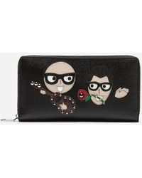 6f7b15e7006 Dolce & Gabbana - Zip-around Wallet In Dauphine Calfskin With Designers'  Patches -