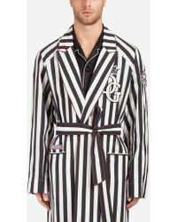 Dolce & Gabbana - Manteau/Peignoir En Coton Stretch À Écusson - Lyst