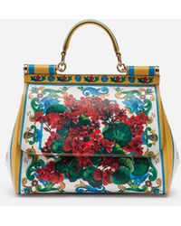 Lyst - Dolce   Gabbana Flower Print Dauphine Calfskin Medium Sicily ... f954ae6185