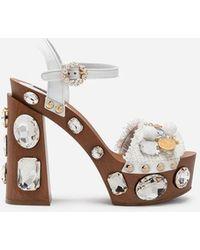 d8b16f326b1 Dolce   Gabbana - Sandals In Raffia With Platform And Jewel Embellishment -  Lyst