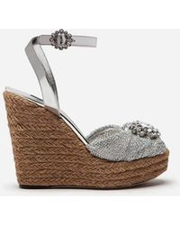 Dolce & Gabbana - Lamé Knit Wedge Sandals With Bejeweled Detail - Lyst