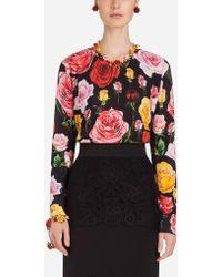 Dolce & Gabbana - Round Neck Sweater In Printed Silk - Lyst