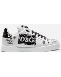 c39243f6c83 Dolce   Gabbana - Portofino Sneakers In Calfskin With Patch And Embroidery  - Lyst