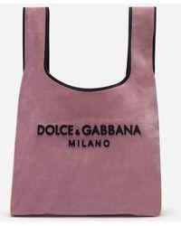 Dolce & Gabbana - Cabas Porté Épaule En Velours Avec Logo En Caoutchouc - Lyst