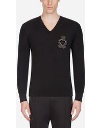 Dolce & Gabbana - V-neck Wool Knit With Patch - Lyst