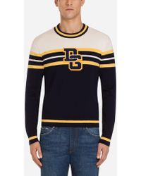 fdd31ba9 Dolce & Gabbana - Crew Neck Sweater In Wool With Patch Featuring Logo - Lyst
