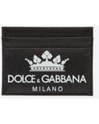 Dolce & Gabbana - Porta Carte Di Credito In Vitello Dauphine Stampato - Lyst