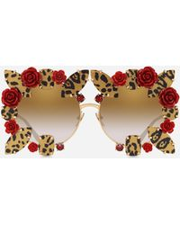 Dolce & Gabbana - Round Metal Sunglasses With Precious Details - Lyst