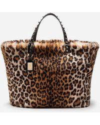 Dolce & Gabbana - Beatrice Leopard Faux Fur Shopping Bag - Lyst