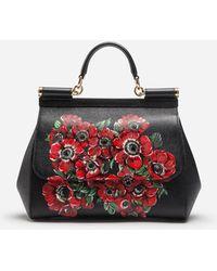 Lyst - Dolce   Gabbana Medium Sicily Handbag In Dauphine Leather in Red 6e2aa0b3a1