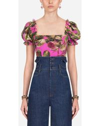 Dolce & Gabbana - Printed Silk Bustier - Lyst