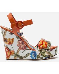 Dolce & Gabbana - Wedge Sandal In Printed Patent Leather - Lyst