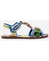 Dolce & Gabbana - Printed Patent Leather Sandals With Bejeweled Buckles - Lyst