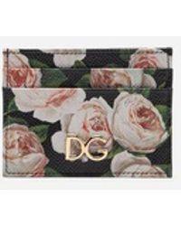 Dolce & Gabbana - Printed Dauphine Calfskin Card Holder With Logo - Lyst