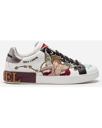 Dolce & Gabbana - Portofino Trainers In Printed Calfskin With Cupid Patch And Appliqués - Lyst
