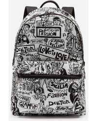 34c0943bf Dolce & Gabbana Printed Nylon Vulcano Backpack in Black for Men - Lyst
