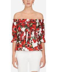90ac571bbfe3fe Dolce   Gabbana - Anemone Print Off The Shoulder Cotton Blouse - Lyst