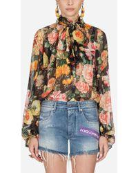 Dolce & Gabbana - Blouse In Printed Silk - Lyst