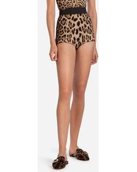 Dolce & Gabbana - High-waisted Panties In Leopard Print Cady - Lyst