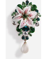 Dolce & Gabbana Brooch With Rhinestones And Resin Lily Embellishment