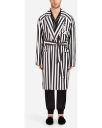 Dolce & Gabbana - Stretch Cotton Coat/robe With Patch - Lyst
