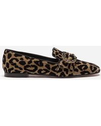 Dolce & Gabbana - Slippers In Color-changing Leopard Fabric With Jewel Buckle - Lyst