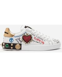 11c018b22 Dolce & Gabbana Printed Calfskin Nappa Portofino Sneakers With Patch And  Embroidery