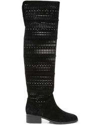 Donald J Pliner - Embellished Perforated Kid Suede Over-the-knee Boot - Lyst