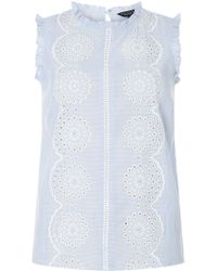 Dorothy Perkins - Blue Broderie Striped Shell Top - Lyst