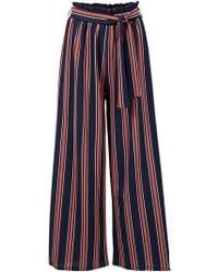 Dorothy Perkins - Izabel London Navy Striped Trousers - Lyst