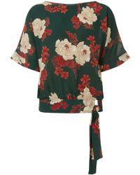 Dorothy Perkins - Green Floral Tie Side Top - Lyst