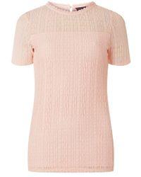 Dorothy Perkins - Tall Blush Lace Neck T-shirt - Lyst