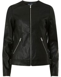 Dorothy Perkins - Tall Black Faux-leather Collarless Jacket - Lyst